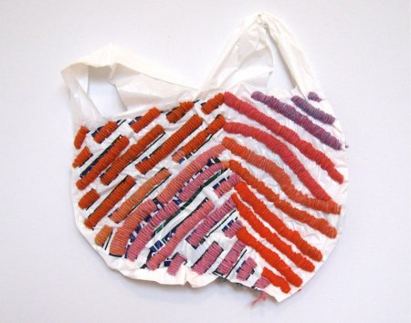 Josh Blackwell's embroidered plastic bags
