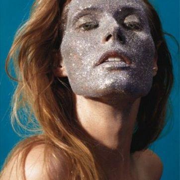 silver glitter face