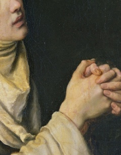 (Detail) Saint Catherine of Siena in prayer,Cristofano Allori (1577-1621)