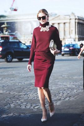 Olivia Palermo streetstyle, Marsala Color Trend