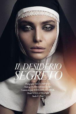 High-Fashion Nun Photography - The Il Desiderio Segreto Image Series by Jean Osipyan is Religious