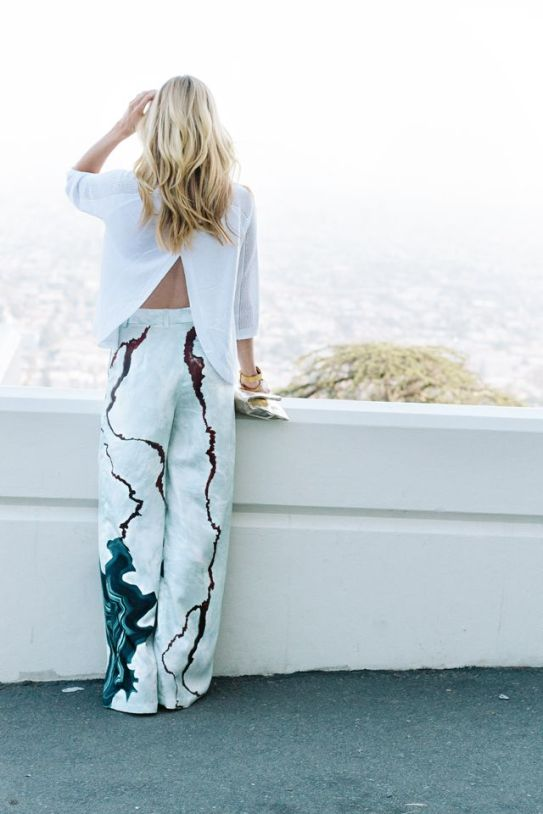Geode print pants :: split back sweater :: smitten studio
