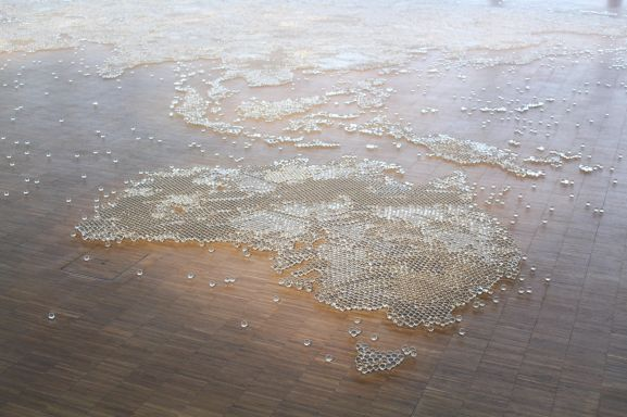 Map (clear), 2014 | Mona Hatoum exhibition, Centre Pompidou, Paris | Photographed by Clarissa of Youneedacocktail