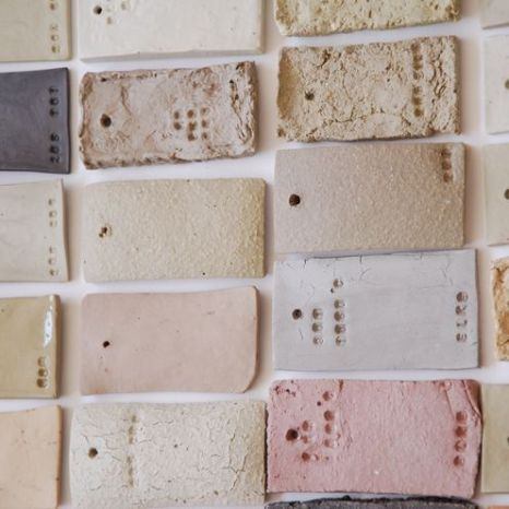 Clay samples for ceramic cups, by Elke van den Berg