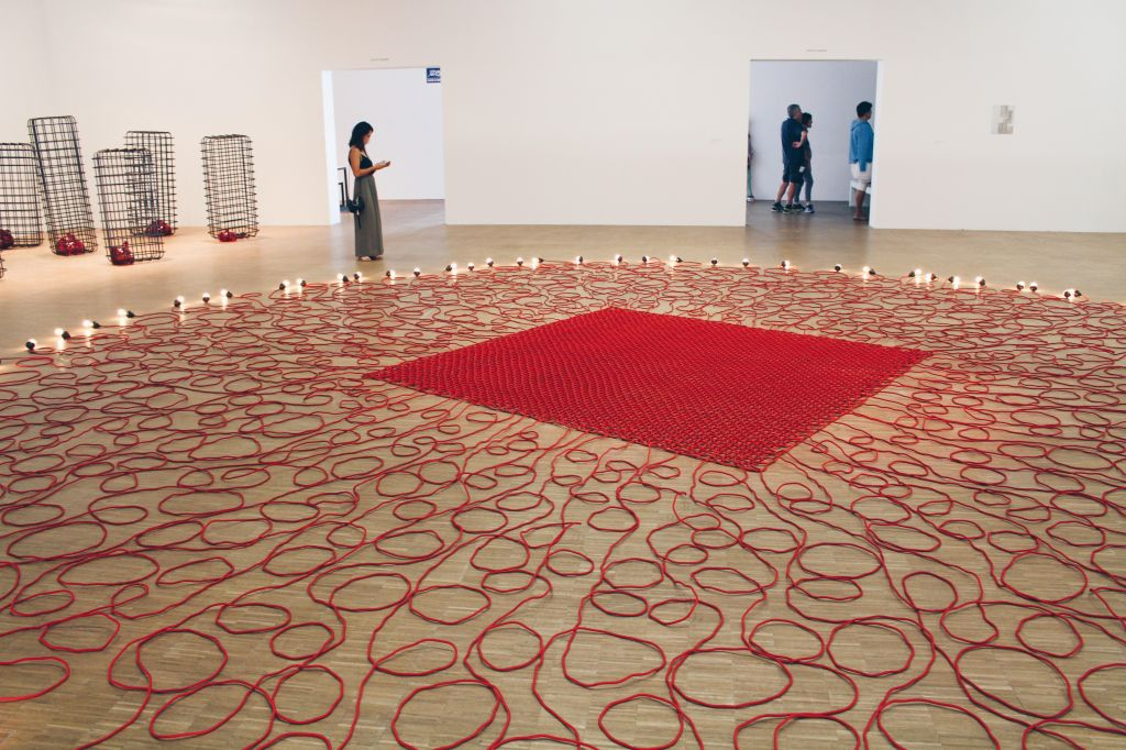 Undercurrent (red), 2008 | Mona Hatoum exhibition, Centre Pompidou, Paris | Photographed by Clarissa of Youneedacocktail