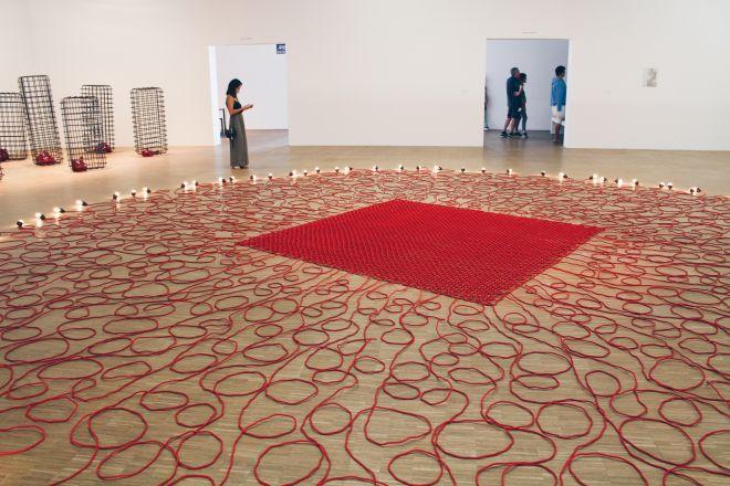 Undercurrent (red), 2008 | Mona Hatoum exhibition, Centre Pompidou, Paris | Photographed by Clarissa of Youneedacocktail